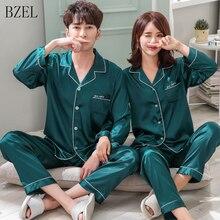 BZEL Paar Pyjama Set Silk Satin Pijamas Langarm Nachtwäsche Seine und sie Nach Hause Anzug Pyjama Für Liebhaber mann Frau Lovers Kleidung