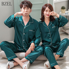 BZELคู่ชุดนอนผ้าไหมซาตินPijamasแขนยาวชุดนอนของเขา และ บ้านของเธอชุดชุดนอนสำหรับคนรักman Woman Lovers เสื้อผ้า