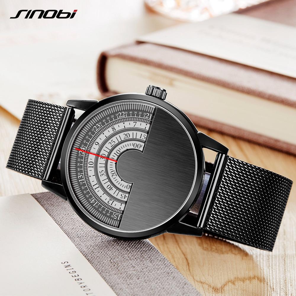 SINOBI Men Fashion Casual Watches Relogio Masculino Top Brand Luxury Rotate Dials Men's Creative Milan Strap Wrist Watches