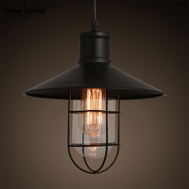 1ed52ae7b70 Loft RH Vintage Edison LED Bulb Iron Cage Glass Hanging Industrial Pendant  Lamp Light Lighting E27 E26 110V 220V Guard Indoor