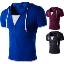 Men Leisure Brand 2017 Summer Fashion Men Hooded Collar Sling Design men's t-shirts T Shirt Men Short Sleeve Slim Male Tops XXL t shirt men brand 2017 men s fashion heap collar design tops