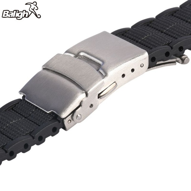 20 22 MM Black Silicone Rubber Waterproof Men& Women Watch Strap Band Deployment