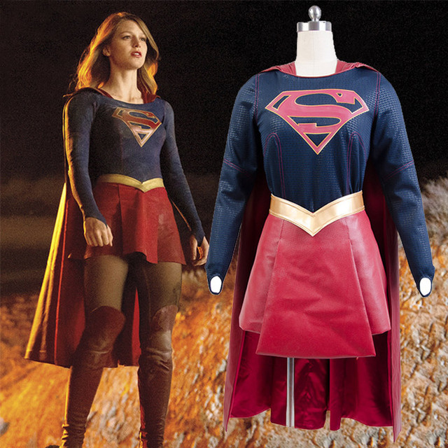 Adult Supergirl Costume Cloak Dress Movie Halloween Carnival Cosplay Costumes For  Women Custom Made Free Shipping