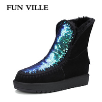 FUN VILLE New Fashion Woman Snow Boots Black Blue Green Real Fur Wool Ankle Boots Warm