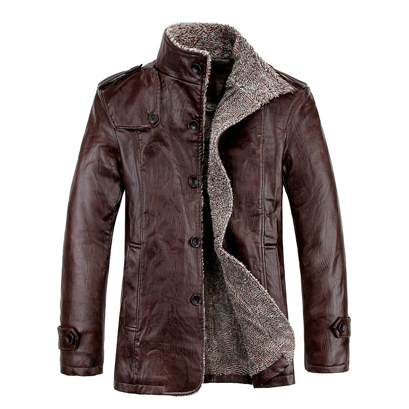 Simulation Leather Jacket Winter Men's Plus Velvet Thickening Japanese Business Casual Pu Plus Fat Large Size Leather Jacket