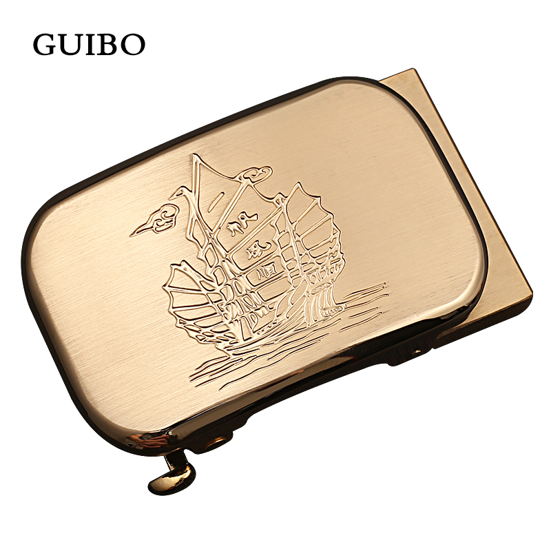 GUIBO Luxury Brand Mens Solid Brass Carve Pattern Automatic Buckle For Mens Leather Belt Waistband Accessory 3.5CM Strap