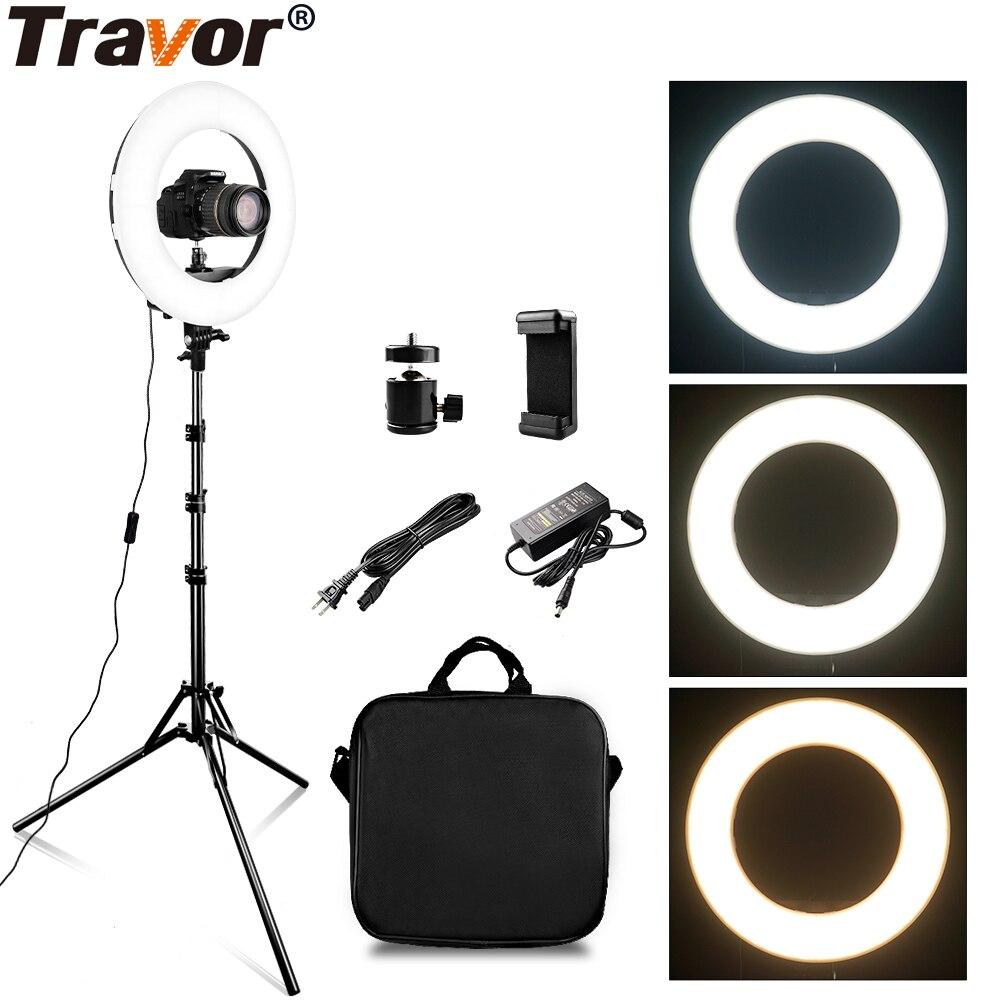 TRAVOR RL 12A 384 светодиодный 45 Вт светодиодный кольцевой светильник с регулируемой яркостью, кольцевой светильник 3200 K 5500 K, кольцевой светильник для фотосъемки, лампа для макияжа, 2 м, светильник подставка
