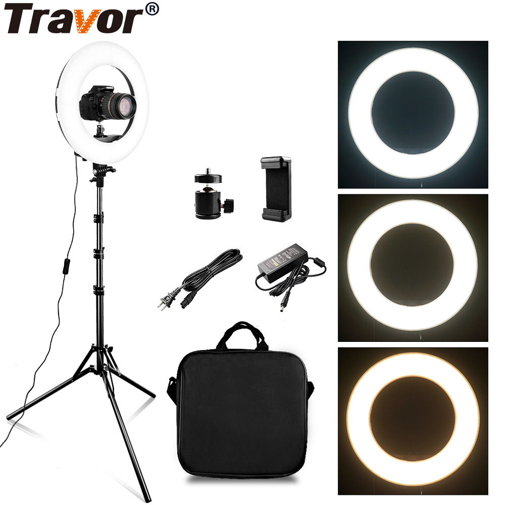 TRAVOR RL 12A 384 LED 45 ワット LED リングライト調光対応リングライトガーデンライト 3200 K 5500 5500k の写真撮影化粧リングライトランプ wirh 2 メートルライトスタンド  グループ上の 家電製品 からの 写真用照明 の中 1