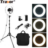 TRAVOR RL-12A 384 LED 45W LED Ring Light Dimmable Ringlight 3200K-5500K Photography makeup Ring Light Lamp wirh 2m light stand