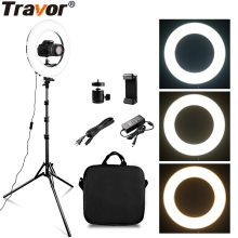 TRAVOR RL-12A 384 LED 45W Ring Light Dimmable Ringlight 3200K-5500K Photography makeup Lamp wirh 2m light stand
