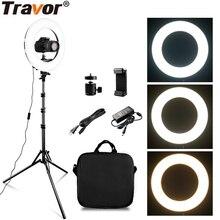TRAVOR RL 12A LED 링 라이트 디 밍이 가능한 링 램프 3200K 5500K 사진 메이크업 링 라이트 램프 wirh 2m 라이트 스탠드 selfie 라이트