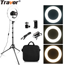 TRAVOR RL-14A 384 LED 45W LED Ring Light Dimmable Ringlight 3200K-5500K Photography makeup Ring Light Lamp wirh 2m light stand(China)