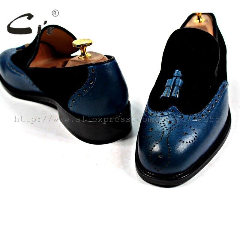 Cie/ ; мужские туфли-лодочки ручной работы из натуральной телячьей кожи с бахромой без шнуровки; Цвет Черный; обувь из замши и темно-синего цвета; № лоферы; 17