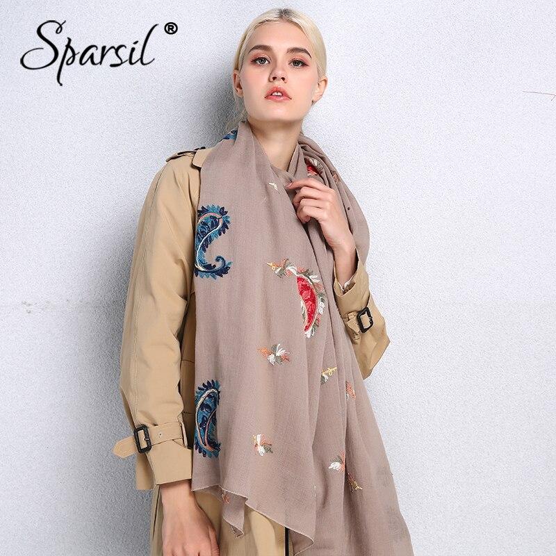Sparsil 2019 New Spring Women Cotton Linen Scarf Retro Flower Embroidery Shawl Female Fashion Scarves Head Hijab Long Wrap 180cm