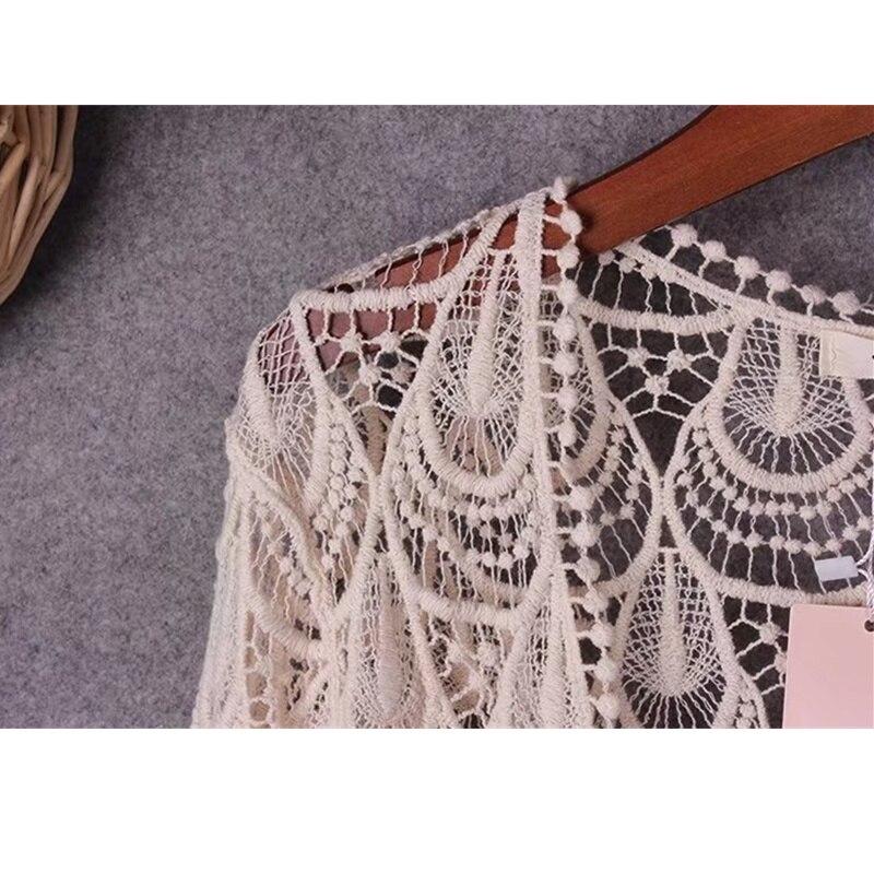 Spring Summer Hollow Out Phoenix Flower Crochet Lace Cardigan Women Seven Sleeve Bohemian Crop Tops Ladies Lace Blouses Femme