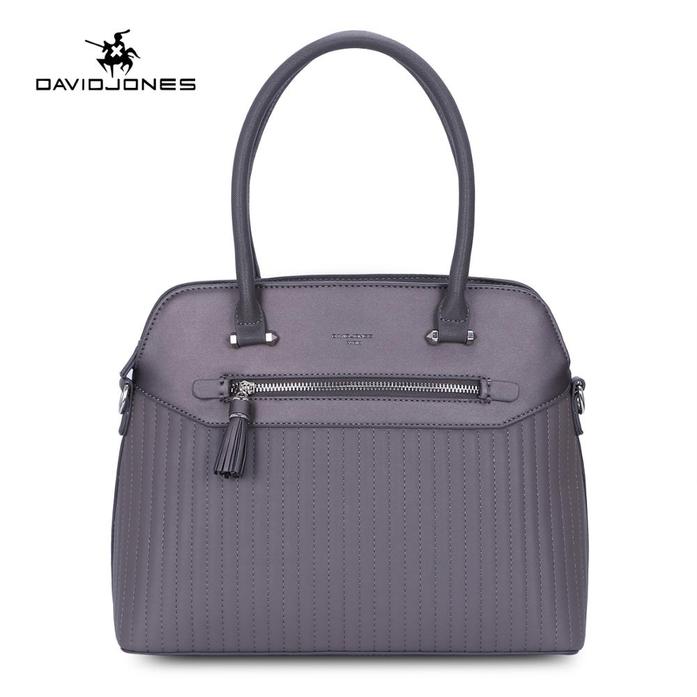 DAVIDJONES women handbags faux leather female shoulder bags big lady striped messenger bag girl brand tote