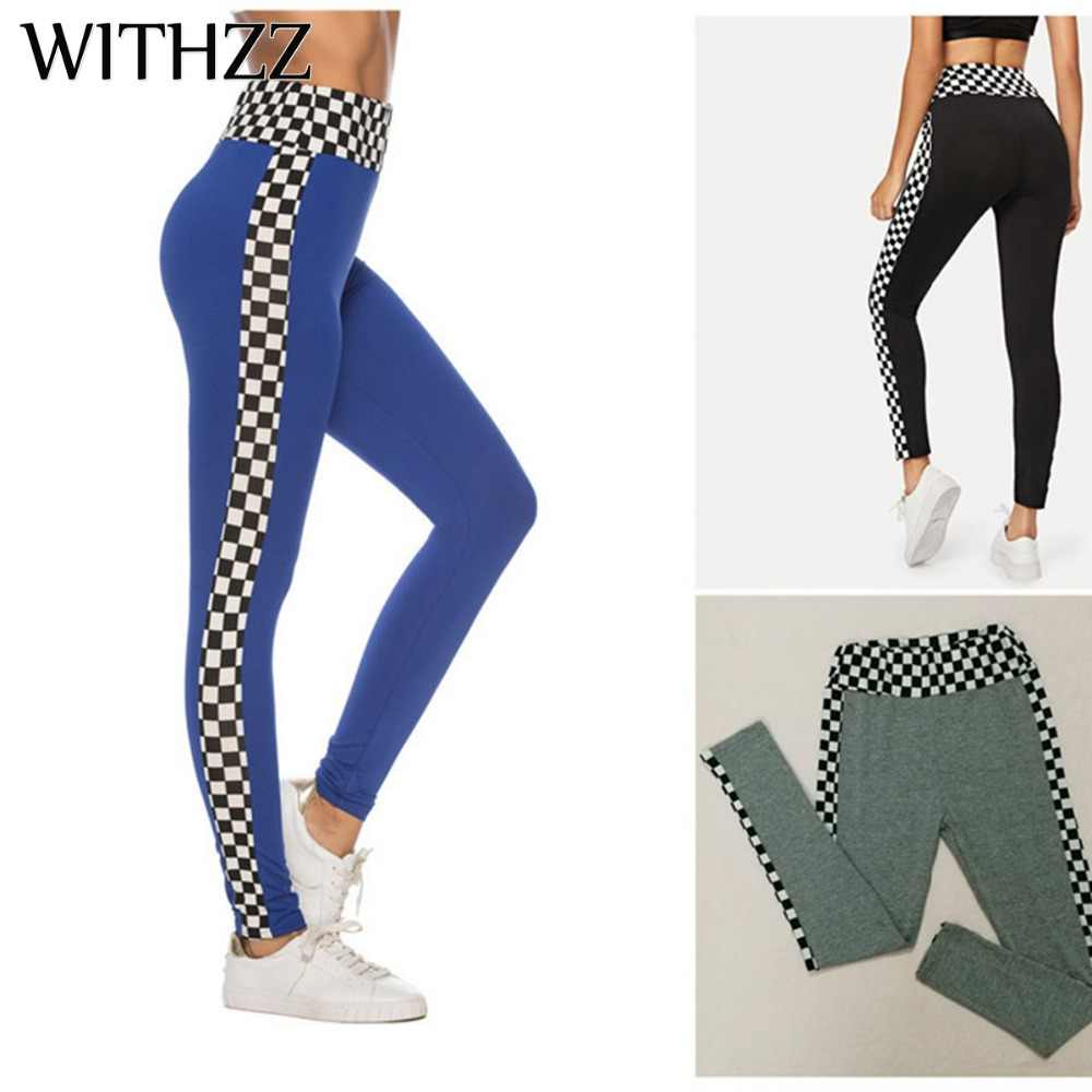 Zzz Plaid drukuj szwy elastyczne legginsy kobiety Legging łokcie dla Fitness Legging legginsy Workout Tayt Sportleggings Vrouwen