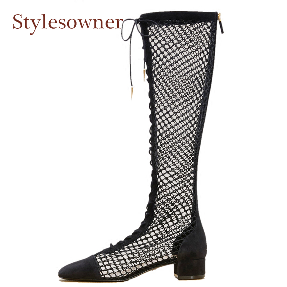 Stylesowner brand design fishnet patchwork spring summer boots shoes front cross tied hollow out square heel runway boot women lace patchwork hollow out shirt