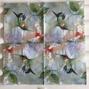 Image 3 - 25 cm 20 giấy tissue khăn ăn dễ thương Hummingbird hoa khăn tay dầu thủ công decoupage cô gái boy kid đảng đám cưới khăn ăn deco