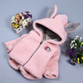 baby girls winter coats cute rabbit hooded fleece infant girl's warm outerwear jacket cotton padded toddler girl clothing