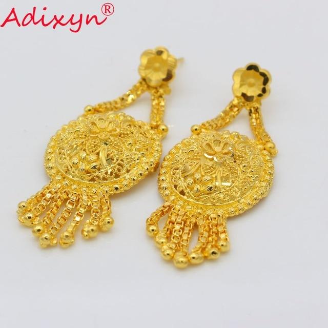 Adixyn India Tassels Earrings For Women Gold Color Wedding Earring