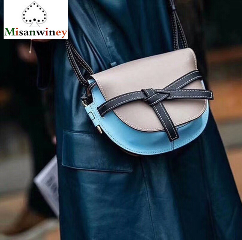 Luxury Genuine Leather Handbag Bowknot Saddle Bag Contrast Color Gate Bag Women Cow Shoulder Messenger Bag Famous Designer Louis best quality 2018 new gate shoulder bag women saddle bag genuine leather bags for women free shipping dhl