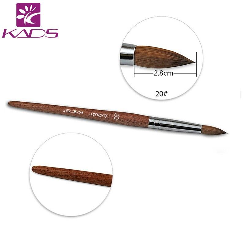 5 pcs/LOT 100% Kolinsky Sable Stylo Rouge Bois Acrylique Brosse taille 20 # Acrylique Brosse pour Nail brosse d'art Professionnel Outils