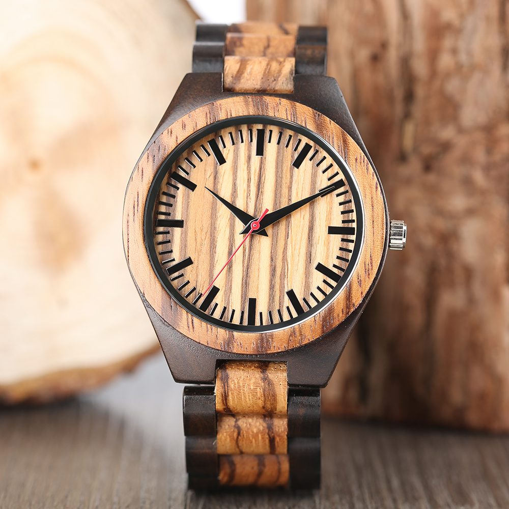 Wooden Watches Clock Bamboo-Strap Male Gifts Sport Fashion Quartz for Dapple-Pattern