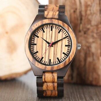 Montres en bois 2018 hommes rayure Dapple motif bambou bracelet Quartz montre Nature bois créatif Sport mode horloge pour hommes cadeaux