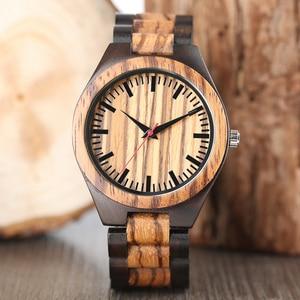Image 1 - Wooden Watches 2018 Men Stripe Dapple Pattern Bamboo Strap Quartz Watch Nature Wood Creative Sport Fashion Clock for Male Gifts