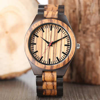 Wooden Watches 2018 Men Stripe Dapple Pattern Bamboo Strap Quartz Watch Nature Wood Creative Sport Fashion Clock for Male Gifts - DISCOUNT ITEM  22% OFF All Category