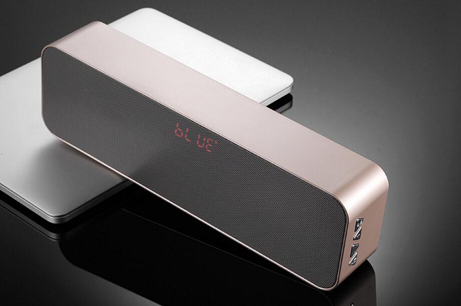 Haut-parleur Bluetooth sans fil Portable, double effet de basse lourde en corne, affichage stéréo LED, haut-parleur FM extérieur, audio Bluetooth.