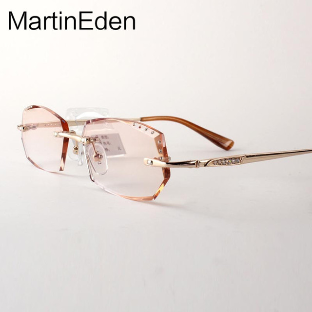 Personalizado moda óculos sem aro olho quadro mulheres de corte de diamante pontos de grau para o sexo feminino óculos lentes de prescrição miopia