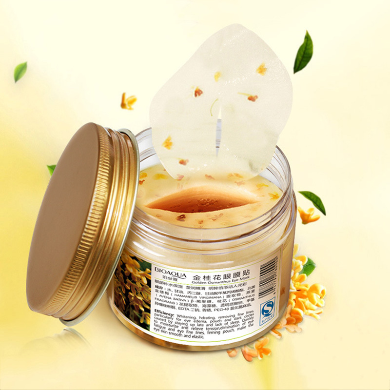 BIOAQUA Gold Osmanthus Eye Mask Eye Patches  Remove Dark Circles Eye Bag Collagen Gel Protein Sleep Patche  Eye Care