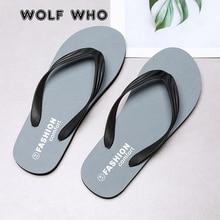 WOLF WHO/летние модные мужские Вьетнамки; пляжные сандалии для мужчин; тапочки на плоской подошве; нескользящая обувь; светильник; сандалии размера плюс; Pantufa; X165