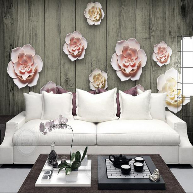 Custom 3D Stereoscopic Photo Wall paper Murals Vintage Wood Flowers Embossed Living Room TV Backdrop Wallpapers for Walls 3 d shinehome abstract wallpaper 3d stereoscopic for walls wallpapers 3 d coffee milk lovers liquid sculpture cafe bar wall paper