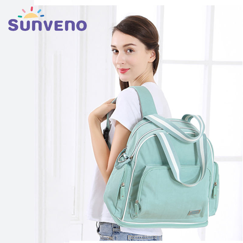 купить Sunveno New Baby Care Diaper Bag Fashion High-Capacity Waterproof Travel Backpack Nurse Nappy Mummy Maternity Bag for Stroller недорого