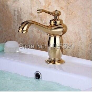 High Quality MAIDEER Brass Construction Titanium Gold Bathroom Single Lever Low Arc  Vanity Sink Faucet Golden European Basin Photo