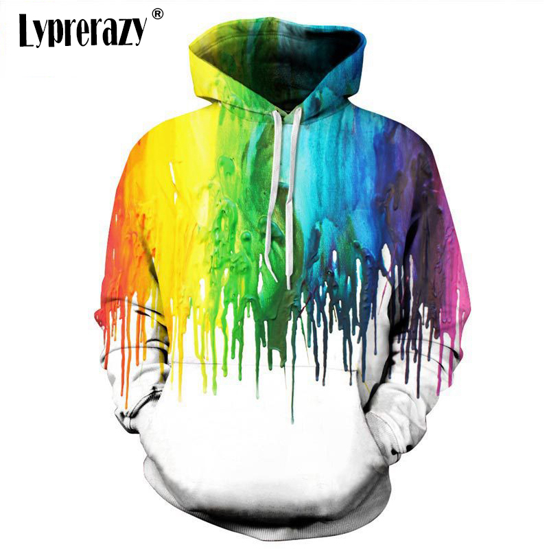 Lyprerazy New Fashion Drips Men 3D Rainbow Hoodie Women Sweatshirts Jacket Funny Oil Painting Printed Hoody Tops
