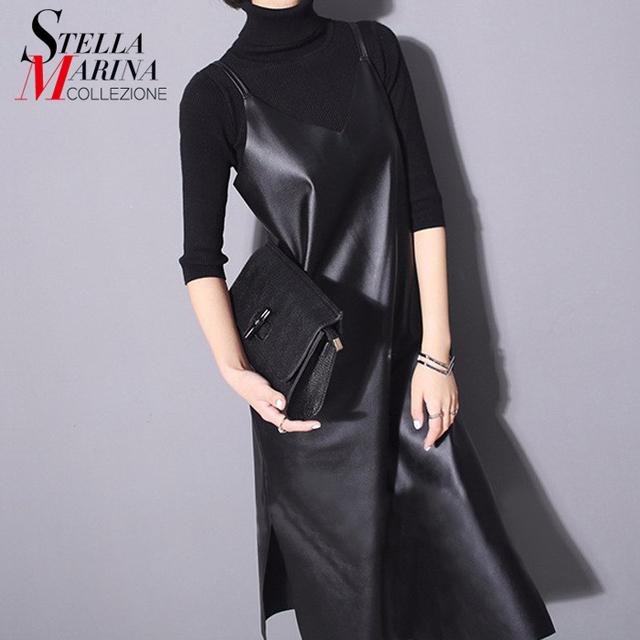 Nova 2017 mulheres moda couro dress sólida preto sem mangas cintas de espaguete divisão inferior sexy nigh clube partido vestidos estilo 746