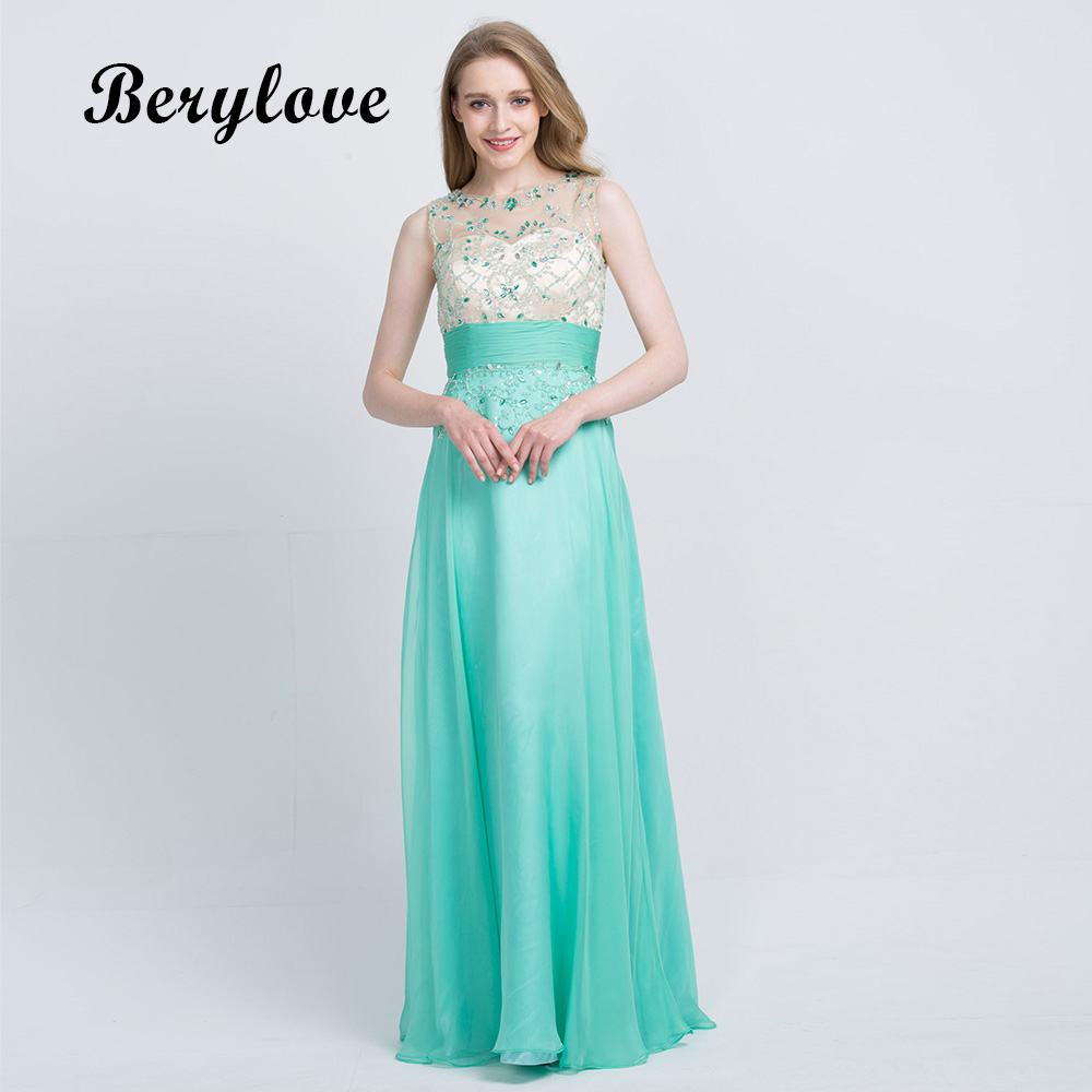 BeryLove Long Mint Green Prom Dresses 2018 Beaded Tulle Prom Gowns ...