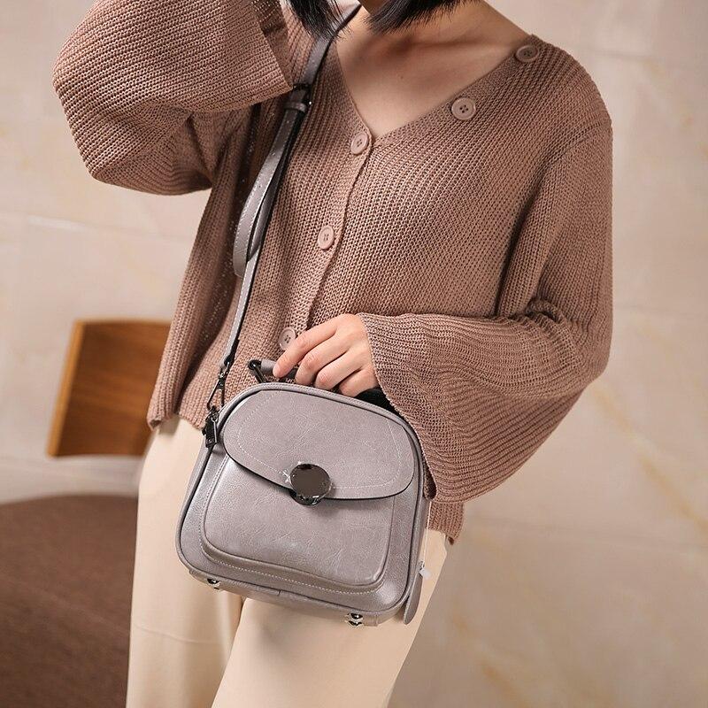 Nuleez äkta läder kvinnor flap väska cirkel metall dekoration mode - Handväskor - Foto 3
