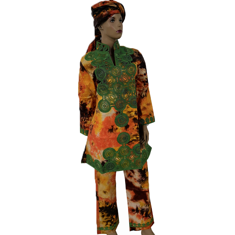 MD African Women Shirt Pants Suit South Africa Ladies Tops Trousers Sets With Scarf Traditional Embroidery Dashiki ClothingAfrica Clothing   -