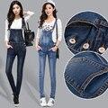 Suspensórios Skinny Jeans 2016 Novas Mulheres de Outono Denim Bodysuit Macacão Calças Compridas calças de Brim Das Senhoras das Mulheres Macacões