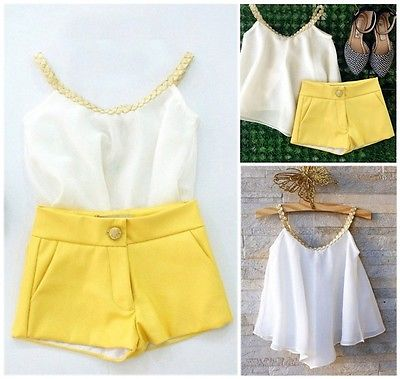 2016 Hot sale Girls Baby Kids Clothes Chiffon Top Shirt+ Yellow Pants Shorts Summer Outfits set hot sale baby outfits coverall casual