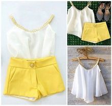 2016 Hot sale Girls Baby Kids Clothes Chiffon Top Shirt+ Yellow Pants Shorts Summer Outfits set