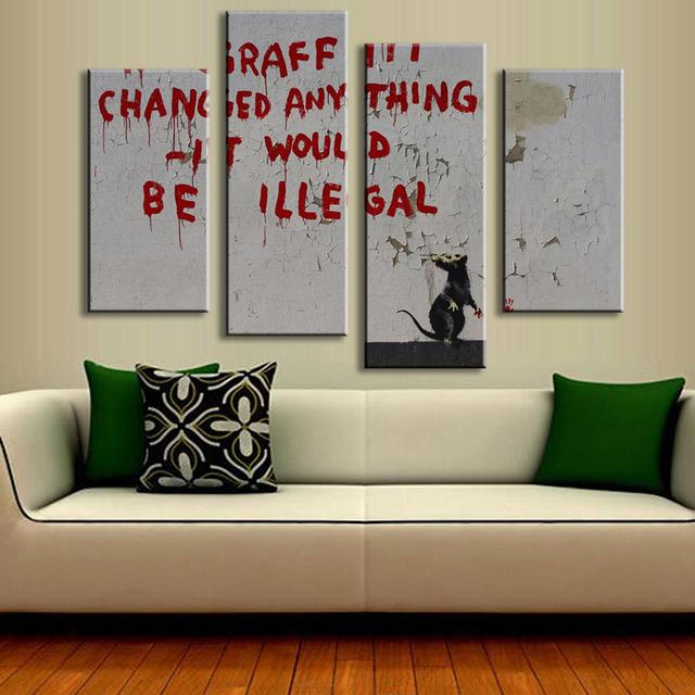 Hot 4 PCS/Set Banksy Art Graffiti Changed Anything Wall Painting Home Decor  Mouse Animal