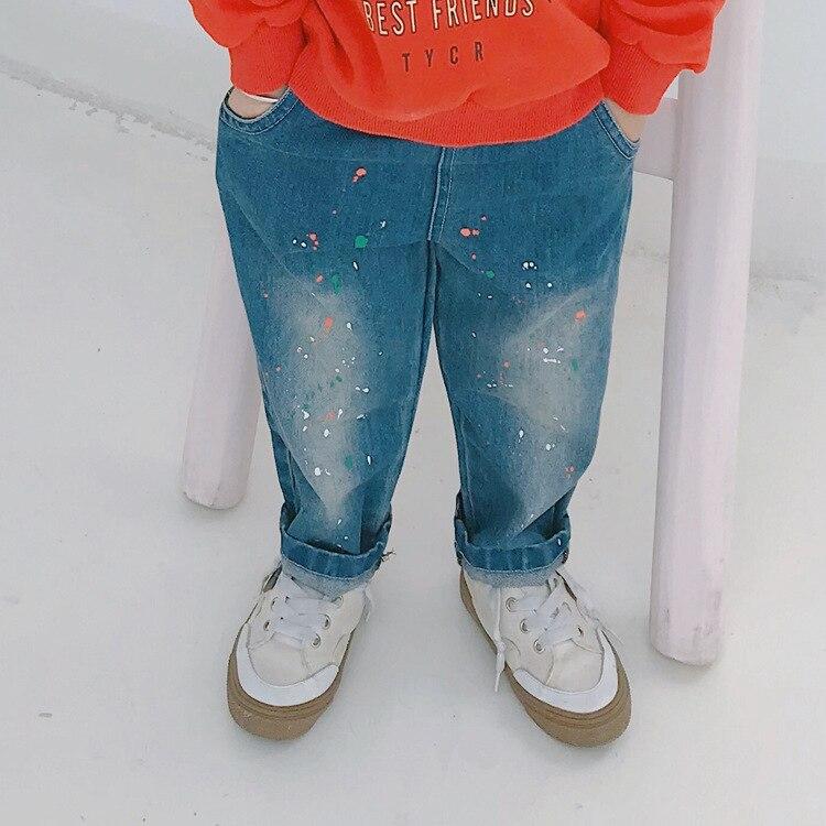 2018 Herbst Neue Ankunft Kinder Korean Lässige Mode Allgleiches Spray Farbe Jeans Hosen Für Nette Mode Jungen Und Mädchen