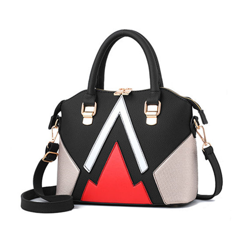2017 New Arrival Fashion Leather Top-Handle Bags Totes Patchwork Woman Handbags Vintage Bag For Women Shoulder Bags new 2017 pu leather doctor bag women vintage casual rivet handbags for women designer small bag with lock top handle bags totes