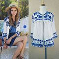 2016 Sexy Women Vintage Retro Ethnic Fashion Jacket Women Embroidered Blue and White Flower Print Loose Casual Jacket A174